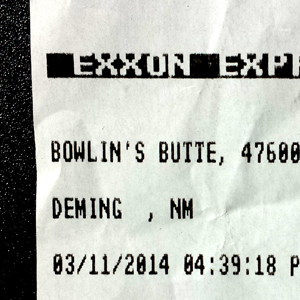 receipt for gas at Bowlin's Butte, Deming, New Mexico