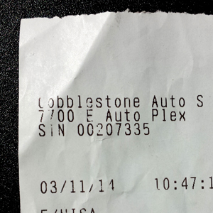 Receipt for gas in Tempe, AZ, morGas from Cobblestone Auto, morning of day two, leaving Tempe, AZ.