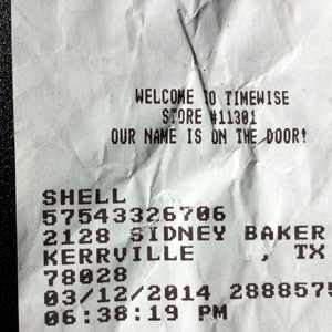 Receipt for gas Kerrville TX