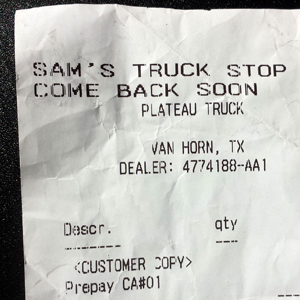 receipt for gas, Van Horn TX